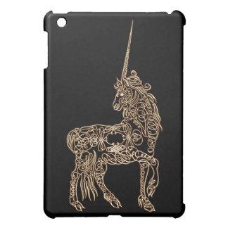 Victorian Gold Pen flourished Calligraphy Unicorn Cover For The iPad Mini