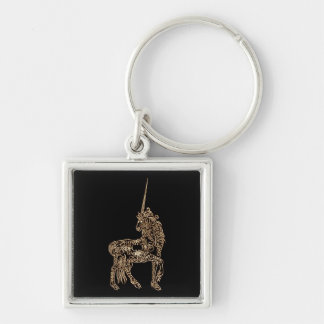 Victorian Gold Pen flourished Calligraphy Unicorn Silver-Colored Square Keychain