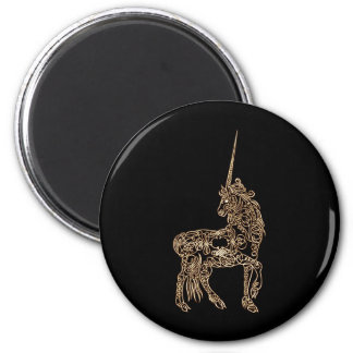 Victorian Gold Pen flourished Calligraphy Unicorn 2 Inch Round Magnet