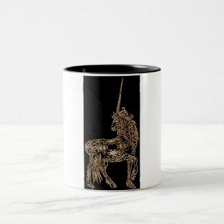 Victorian Gold Pen flourished Calligraphy Unicorn Two-Tone Coffee Mug