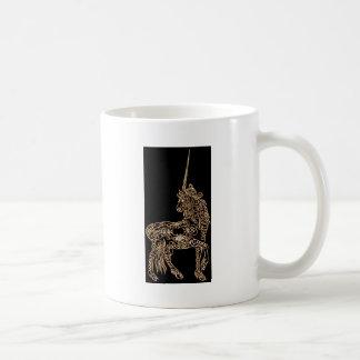 Victorian Gold Pen flourished Calligraphy Unicorn Classic White Coffee Mug