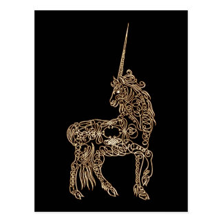 Victorian Gold Pen flourished Calligraphy Unicorn Postcard