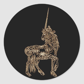 Victorian Gold Pen flourished Calligraphy Unicorn Classic Round Sticker