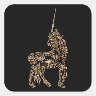 Victorian Gold Pen flourished Calligraphy Unicorn Square Sticker