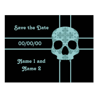 Victorian goth damask fanged skull save the date postcard