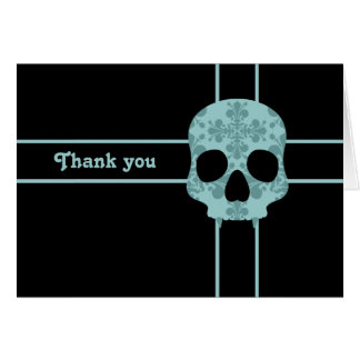 Victorian goth damask fanged skull Thank you Card