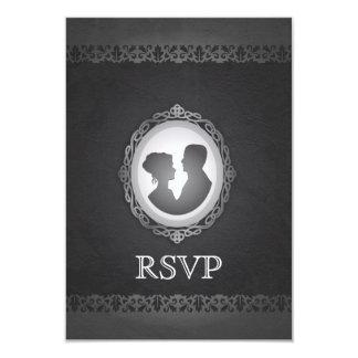 Victorian Gothic Cameo Wedding RSVP 3.5x5 Paper Invitation Card