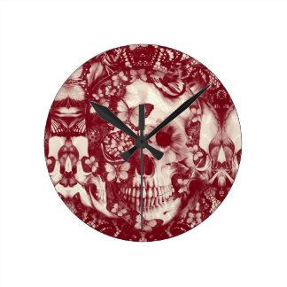 Victorian gothic lace skull wall clocks