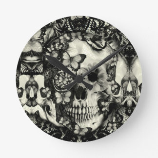 Victorian gothic lace skull round wall clock