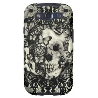 Victorian gothic lace skull pattern galaxy SIII cover