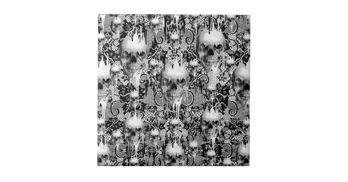 Victorian Gothic Lace Skull Pattern Ceramic Tile