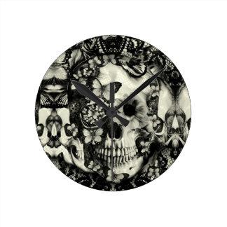 Victorian gothic lace skull pattern wallclock