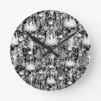 Victorian Gothic Lace skull pattern Round Wall Clock