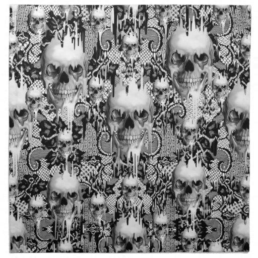 Victorian Gothic Lace skull pattern Cloth Napkins | Zazzle