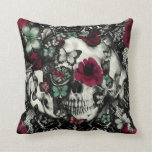 Victorian Gothic lace skull with butterflies Throw Pillows