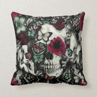 Victorian Gothic lace skull with butterflies Throw Pillow