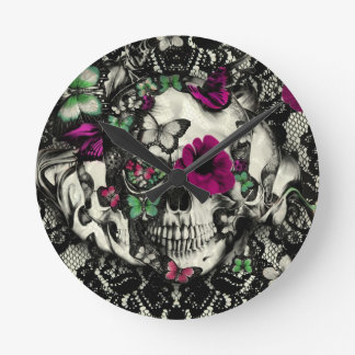 Victorian gothic lace skull with pink accents wall clock