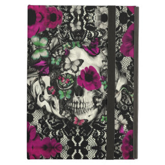 Victorian gothic lace skull with pink accents iPad air cover