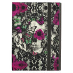 Victorian gothic lace skull with pink accents iPad air covers