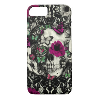 Victorian gothic lace skull with pink accents iPhone 7 case