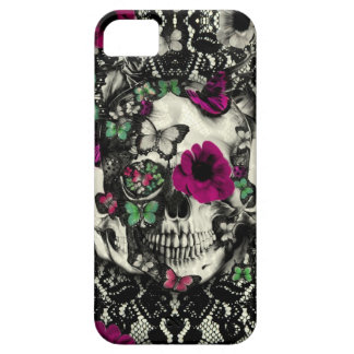 Victorian gothic lace skull with pink accents iPhone SE/5/5s case