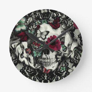 Victorian gothic lace skull with red accents round wallclocks