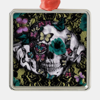 Victorian gothic lace skull with retro color metal ornament