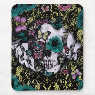 Victorian gothic lace skull with retro color mouse pad