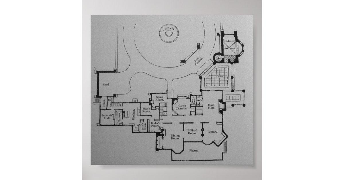 Victorian Gothic Mansion Floor Plan Poster Zazzle