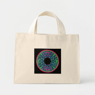 Victorian graphic, black background pink outline tote bags