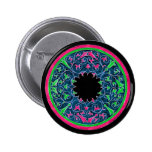 Victorian graphic, black background pink outline pin