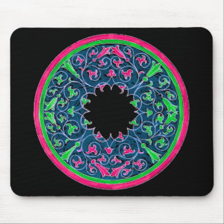 Victorian graphic, black background pink outline mouse pad