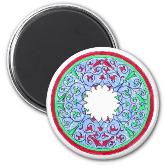 Victorian graphic circle red and blue fridge magnet