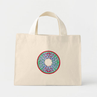 Victorian graphic circle red and blue mini tote bag