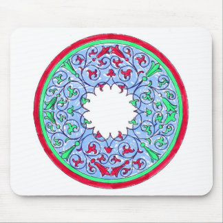Victorian graphic circle red and blue mouse pads