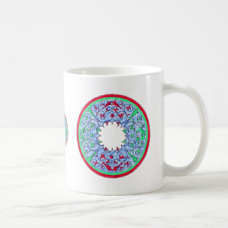 Victorian graphic circle red and blue classic white coffee mug