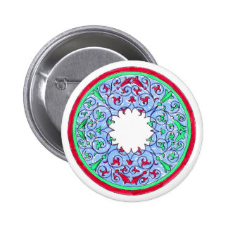 Victorian graphic circle red and blue pin