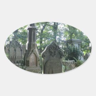 Victorian Gravestones at the Bronte Parsonage Oval Sticker