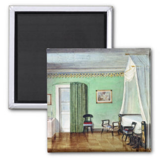Victorian green bedroom 2 inch square magnet
