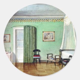 Victorian green bedroom classic round sticker