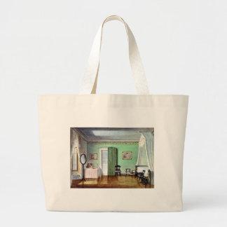 Victorian green bedroom large tote bag