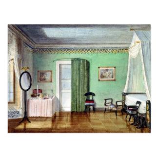 Victorian green bedroom postcard