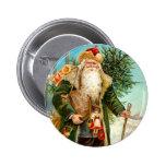 Victorian Green Velvet Christmas Santa Claus Button