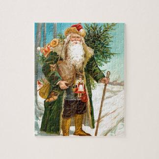 Victorian Green Velvet Christmas Santa Claus Jigsaw Puzzle