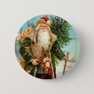 Victorian Green Velvet Christmas Santa Claus Pinback Button