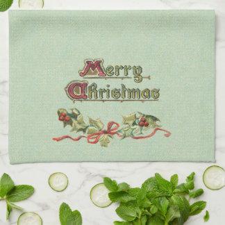 Victorian Greeting, Holly and Ribbon Hand Towel