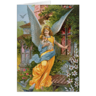Victorian Guardian Angel with Baby Card