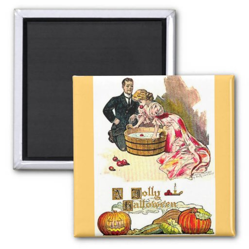 Victorian Halloween Couple 2 Inch Square Magnet