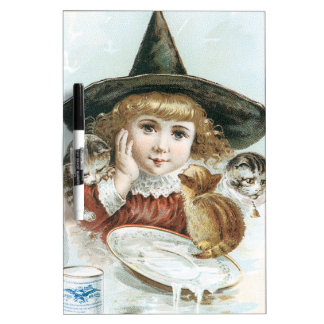 Victorian Halloween Little Girl Witch Hat Cat Dry Erase Board