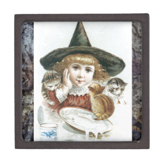 Victorian Halloween Little Girl Witch Hat Cat Jewelry Box